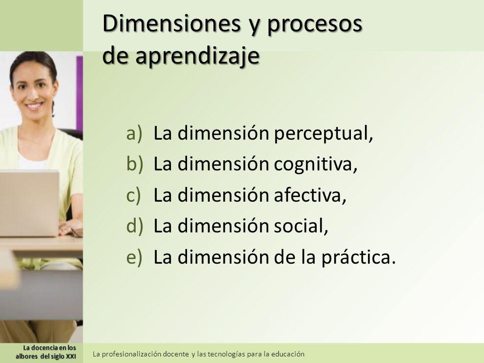 Dimensiones y procesos de aprendizaje a)La dimensión perceptual, b)La dimensión cognitiva, c)La dimensión afectiva, d)La dimensión social, e)La dimensión de la práctica.