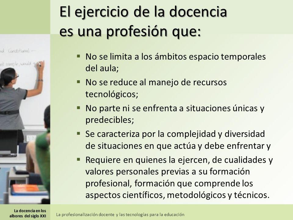 El ejercicio de la docencia es una profesión que: No se limita a los ámbitos espacio temporales del aula; No se reduce al manejo de recursos tecnológi
