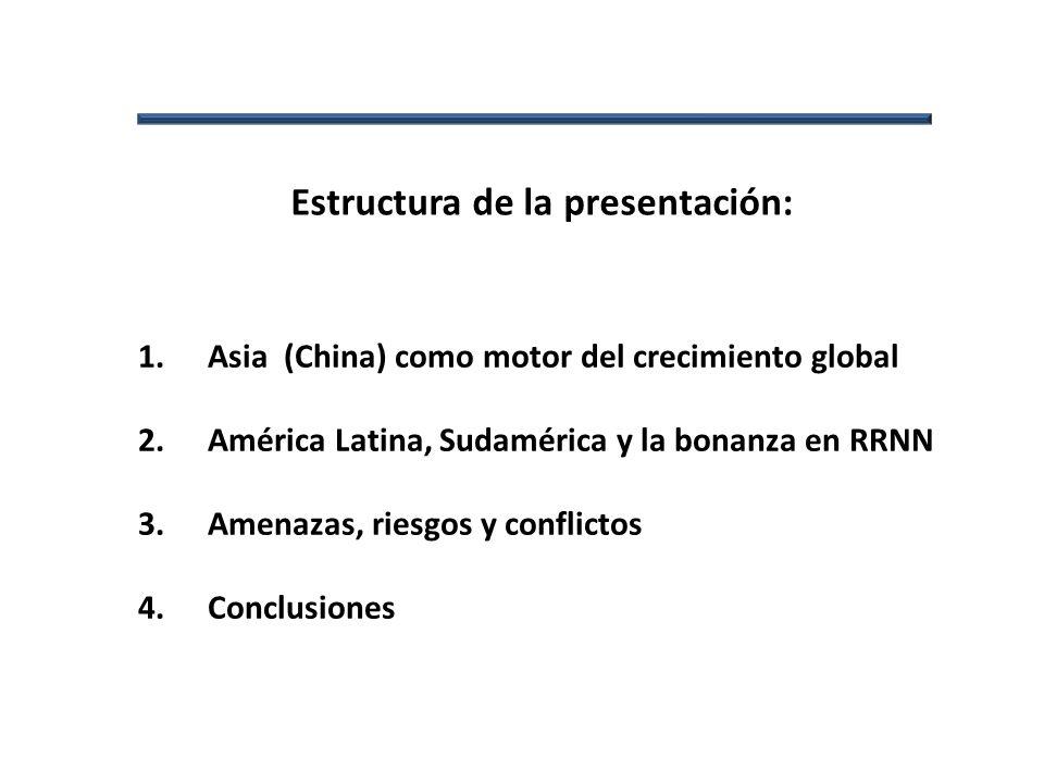 Estructura de la presentación: Asia como motor del crecimiento global 1.Asia (China) como motor del crecimiento global 2.América Latina, Sudamérica y la bonanza en RRNN 3.Amenazas, riesgos y conflictos 4.Conclusiones