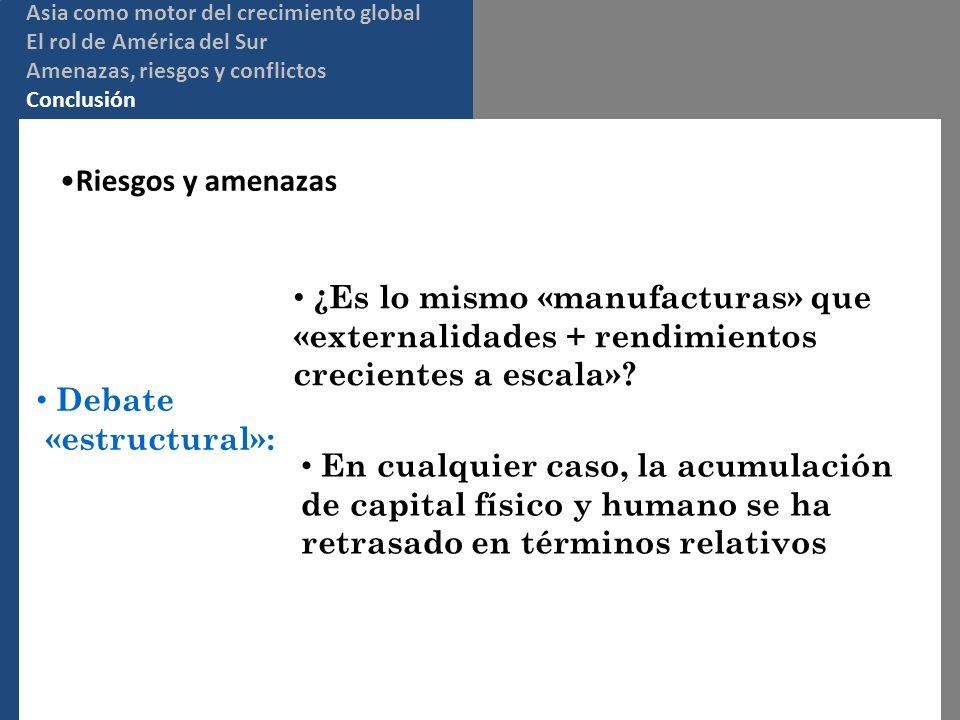 Riesgos y amenazas Debate «estructural»: ¿Es lo mismo «manufacturas» que «externalidades + rendimientos crecientes a escala».