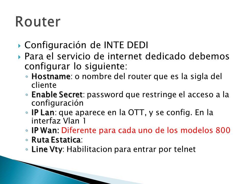Configuración de INTE DEDI Para el servicio de internet dedicado debemos configurar lo siguiente: Hostname Hostname: o nombre del router que es la sigla del cliente Enable Secret Enable Secret: password que restringe el acceso a la configuración IP Lan IP Lan: que aparece en la OTT, y se config.