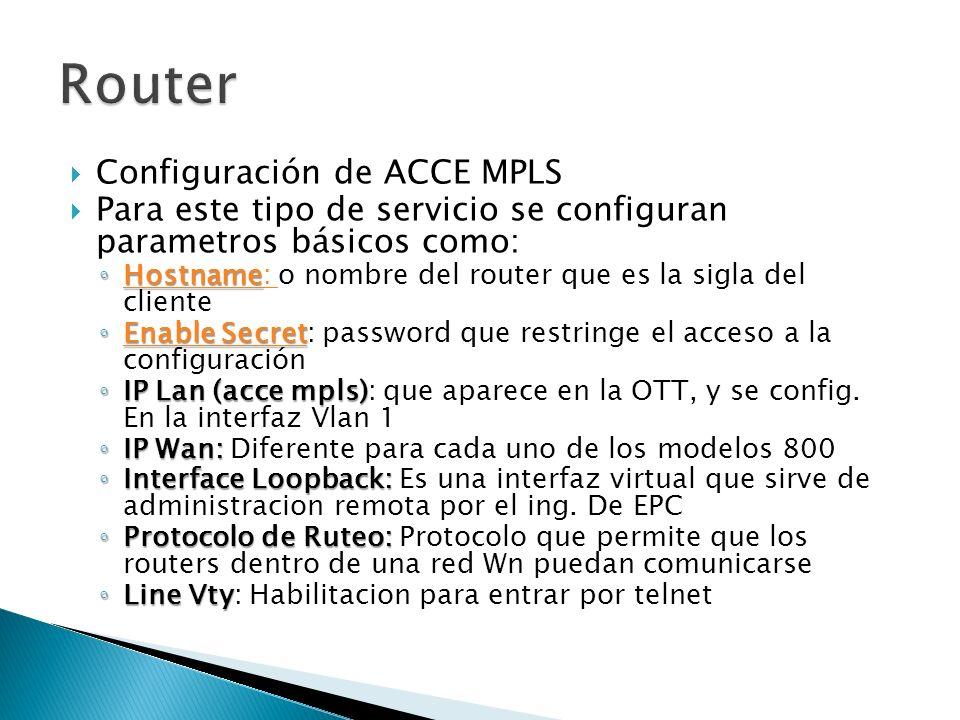 Configuración de ACCE MPLS Para este tipo de servicio se configuran parametros básicos como: Hostname Hostname: o nombre del router que es la sigla del cliente Hostname : Enable Secret Enable Secret: password que restringe el acceso a la configuración Enable Secret Enable Secret IP Lan (acce mpls) IP Lan (acce mpls): que aparece en la OTT, y se config.