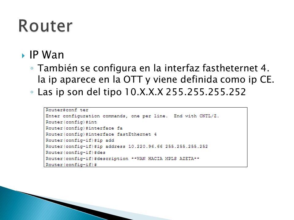 IP Wan También se configura en la interfaz fastheternet 4. la ip aparece en la OTT y viene definida como ip CE. Las ip son del tipo 10.X.X.X 255.255.2