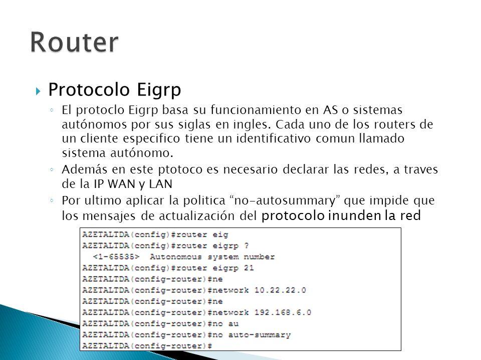 Protocolo Eigrp El protoclo Eigrp basa su funcionamiento en AS o sistemas autónomos por sus siglas en ingles. Cada uno de los routers de un cliente es