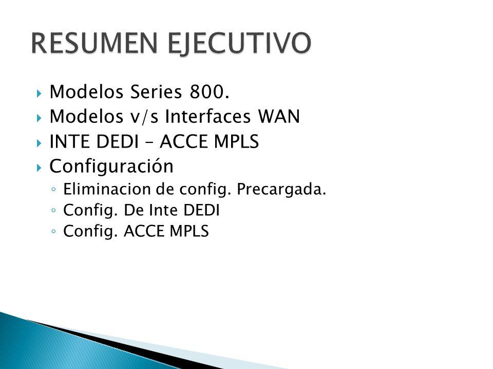 Modelos Series 800. Modelos v/s Interfaces WAN INTE DEDI – ACCE MPLS Configuración Eliminacion de config. Precargada. Config. De Inte DEDI Config. ACC