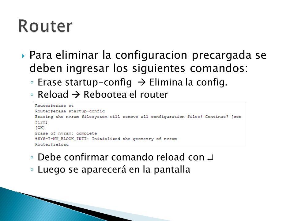 Para eliminar la configuracion precargada se deben ingresar los siguientes comandos: Erase startup-config Elimina la config. Reload Rebootea el router