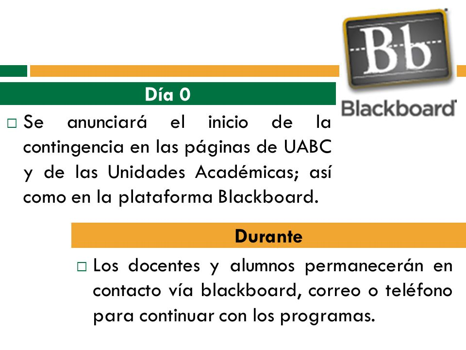 Se anunciará el inicio de la contingencia en las páginas de UABC y de las Unidades Académicas; así como en la plataforma Blackboard. Los docentes y al