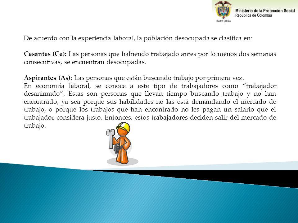 De acuerdo con la experiencia laboral, la población desocupada se clasifica en: Cesantes (Ce): Las personas que habiendo trabajado antes por lo menos