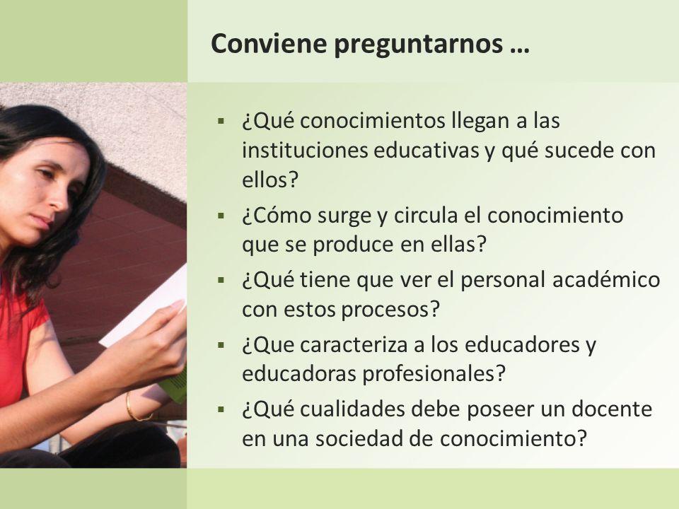 Conviene preguntarnos … ¿Qué conocimientos llegan a las instituciones educativas y qué sucede con ellos? ¿Cómo surge y circula el conocimiento que se