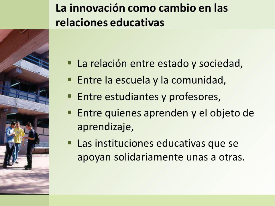 La innovación como cambio en las relaciones educativas La relación entre estado y sociedad, Entre la escuela y la comunidad, Entre estudiantes y profe