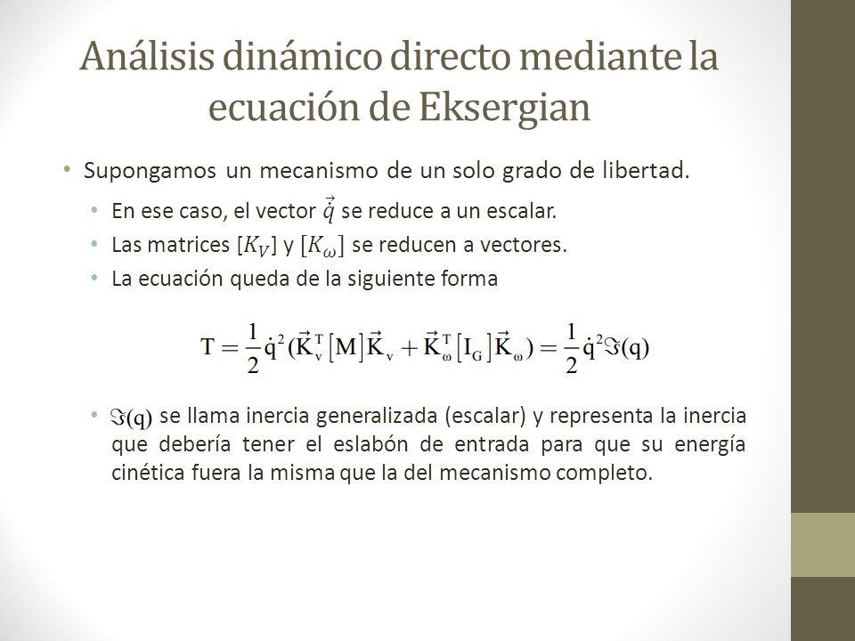 Análisis dinámico directo mediante la ecuación de Eksergian