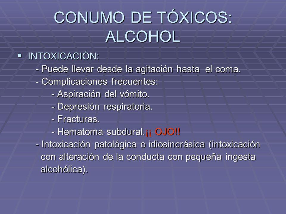 FACTORES PREDISPONENTES DELIRIUM CONSUMO DE TÓXICOS: CONSUMO DE TÓXICOS: - Aumento de la prevalencia por incremento del - Aumento de la prevalencia por incremento del consumo.