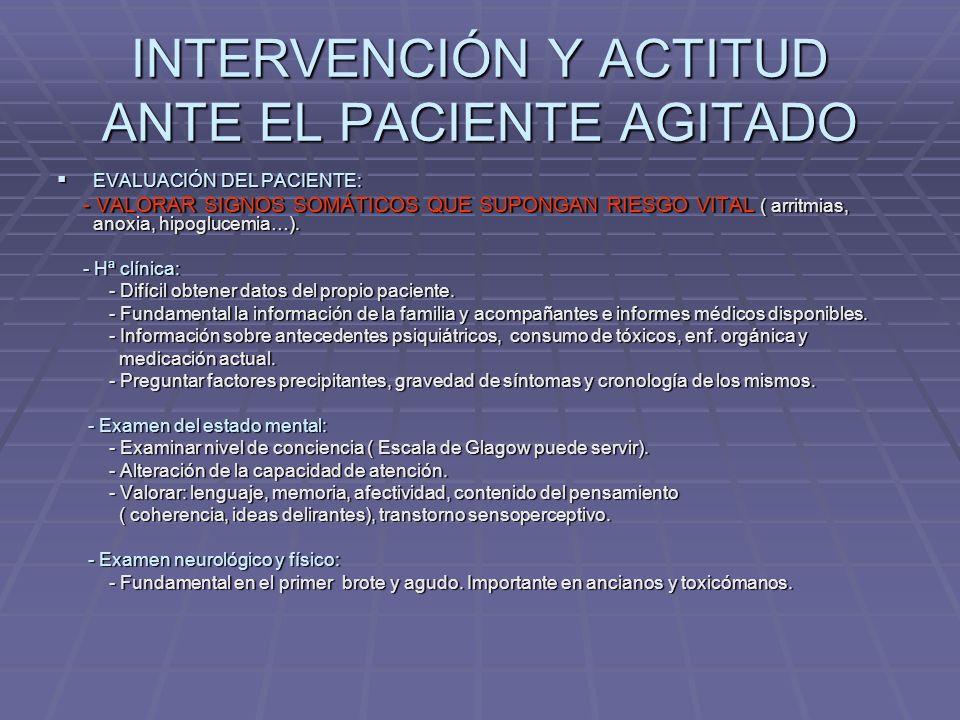 INTERVENCIÓN Y ACTITUD ANTE EL PACIENTE AGITADO CONTROL DE CONDUCTA: CONTROL DE CONDUCTA: - ¿ Cómo actuamos ante el paciente agitado.