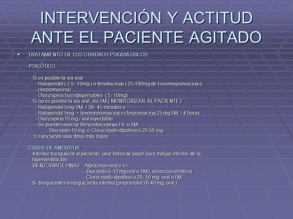 INTERVENCIÓN Y ACTITUD ANTE EL PACIENTE AGITADO TRATAMIENTO DEL DELIRIUM: TRATAMIENTO DEL DELIRIUM: - ALCOHOL: - ALCOHOL: - INTOXICACIÓN: - INTOXICACIÓN: - Usar BENZODIACEPINAS, admón de tiamina 100mg.I.M.