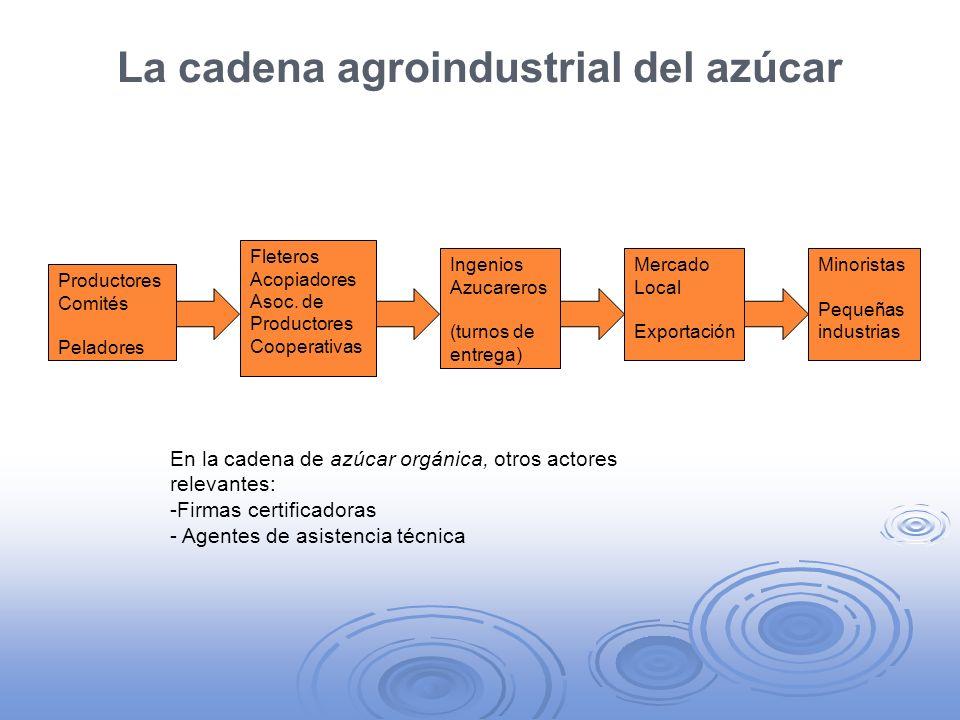 La cadena agroindustrial del azúcar Productores Comités Peladores Minoristas Pequeñas industrias Ingenios Azucareros (turnos de entrega) Fleteros Acop