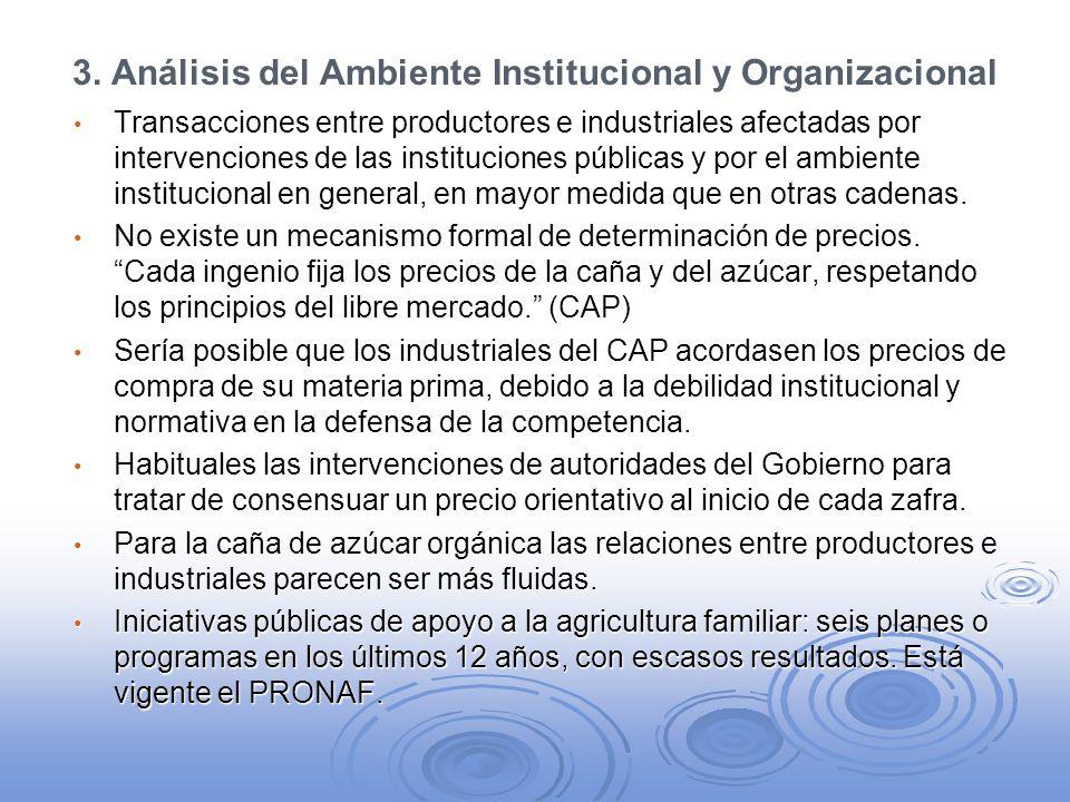 3. Análisis del Ambiente Institucional y Organizacional Transacciones entre productores e industriales afectadas por intervenciones de las institucion