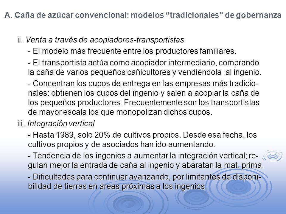 A. Caña de azúcar convencional: modelos tradicionales de gobernanza ii. Venta a través de acopiadores-transportistas - El modelo más frecuente entre l