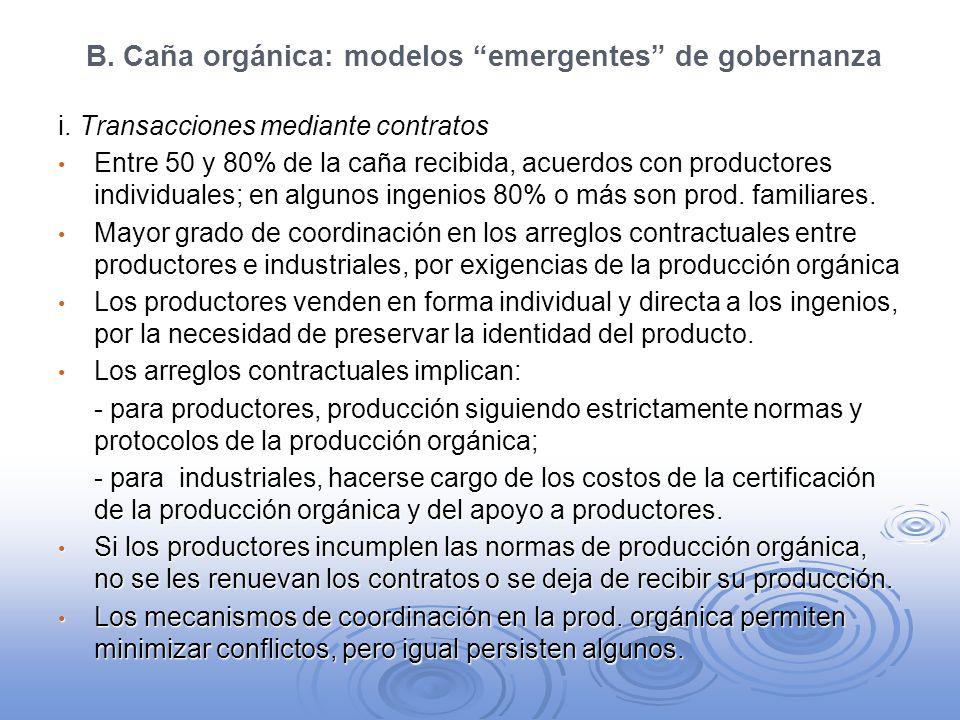 B. Caña orgánica: modelos emergentes de gobernanza i. Transacciones mediante contratos Entre 50 y 80% de la caña recibida, acuerdos con productores in
