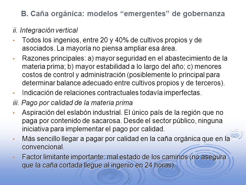B. Caña orgánica: modelos emergentes de gobernanza ii. Integración vertical Todos los ingenios, entre 20 y 40% de cultivos propios y de asociados. La