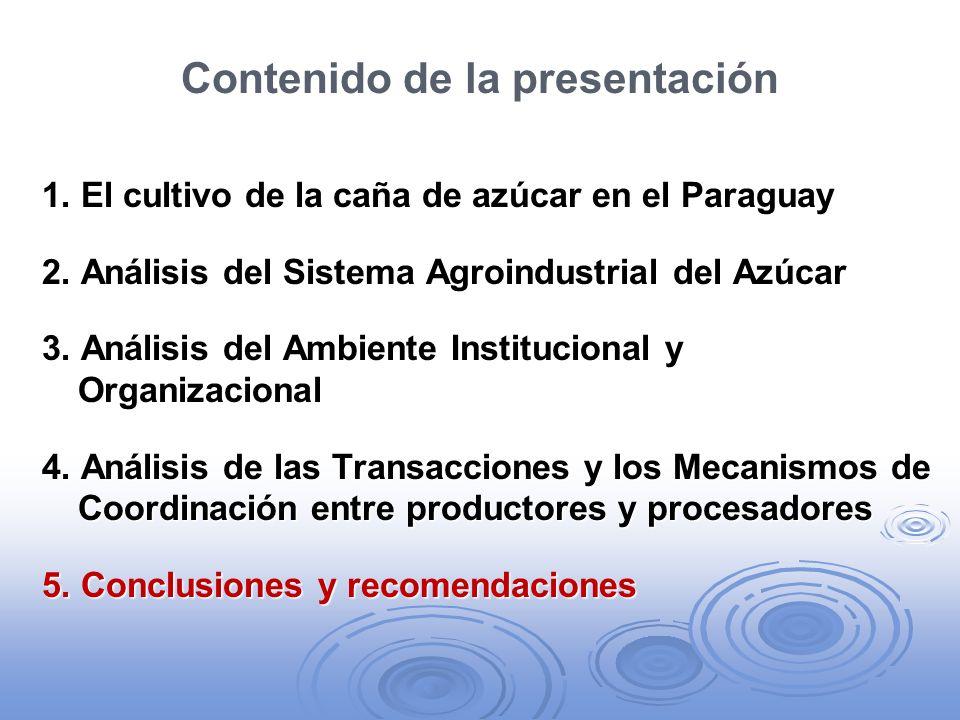 Contenido de la presentación 1. El cultivo de la caña de azúcar en el Paraguay 2. Análisis del Sistema Agroindustrial del Azúcar 3. Análisis del Ambie