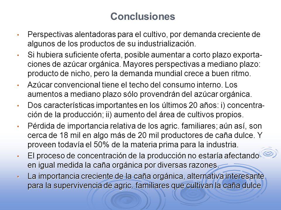 Conclusiones Perspectivas alentadoras para el cultivo, por demanda creciente de algunos de los productos de su industrialización. Perspectivas alentad