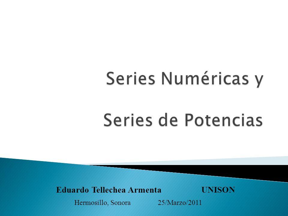 = Con el concepto de SERIE NUMÉRICA, queremos darle sentido a la SUMA de una infinidad de números reales.