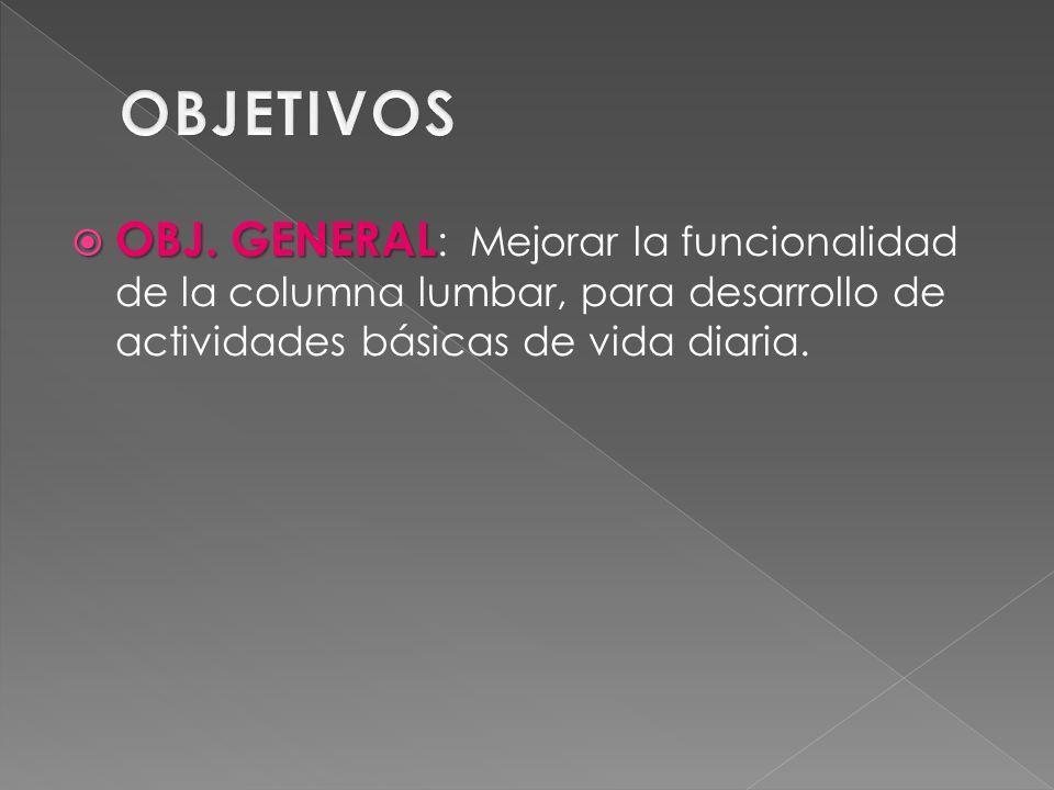 OBJ. GENERAL OBJ. GENERAL : Mejorar la funcionalidad de la columna lumbar, para desarrollo de actividades básicas de vida diaria.