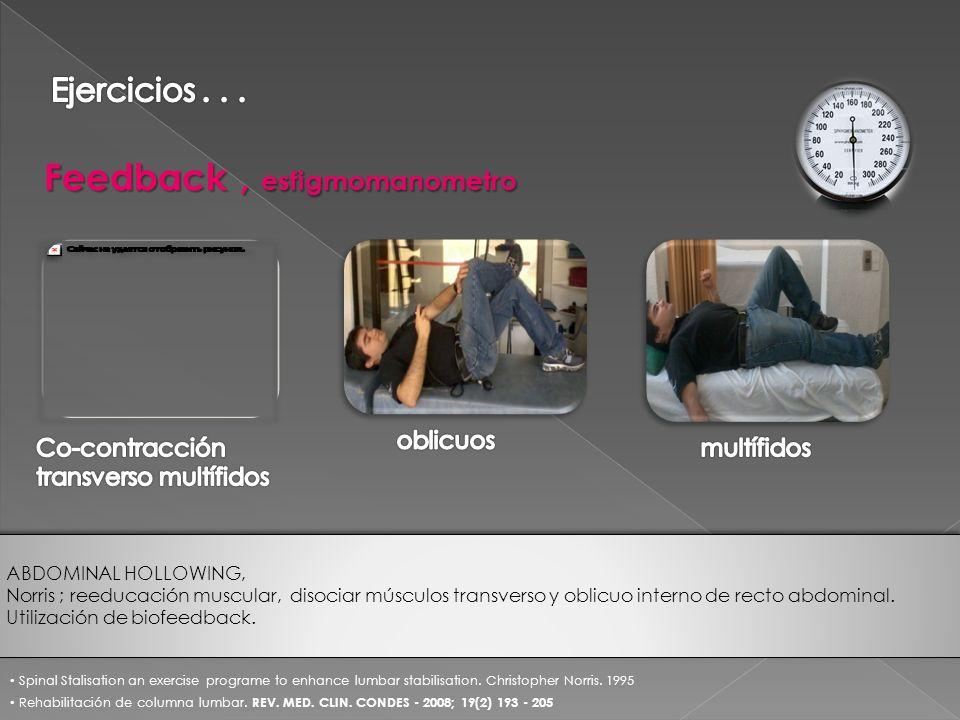 Feedback, esfigmomanometro Rehabilitación de columna lumbar. REV. MED. CLIN. CONDES - 2008; 19(2) 193 - 205 Spinal Stalisation an exercise programe to