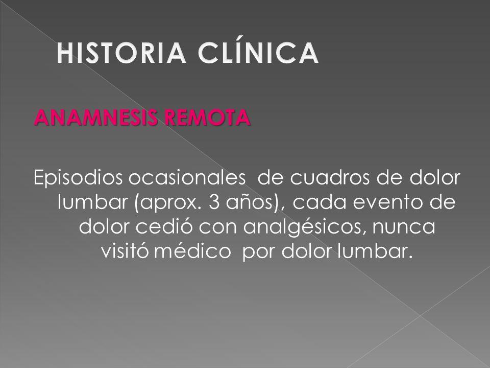 VALORACIÓN Y TOPOGRAFÍA DEL DOLOR Dolor lumbar desde hace 1 mes, consulta médico quien diagnostica Sd.