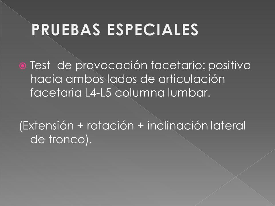 Dolorosa la palpación de : Articulación facetaría L4-L5 D° e I° vientre de Piriforme D° Aumento de tensión en: Piriforme D°.