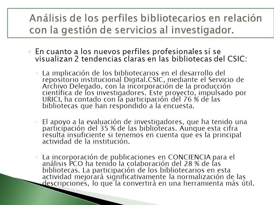 En cuanto a los nuevos perfiles profesionales sí se visualizan 2 tendencias claras en las bibliotecas del CSIC: La implicación de los bibliotecarios e