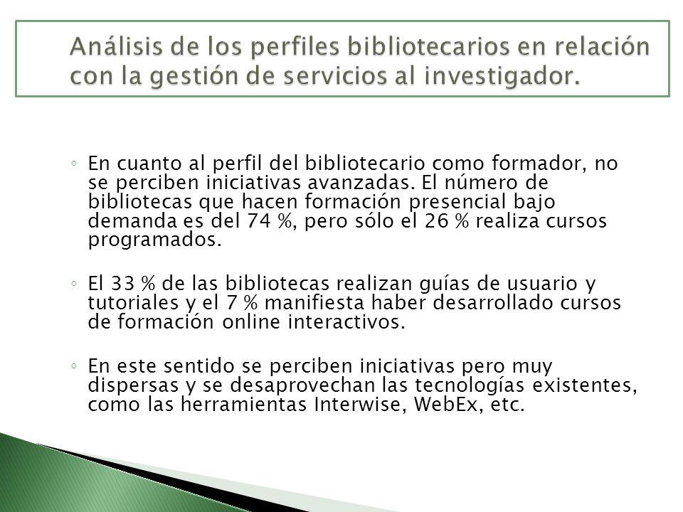 En cuanto al perfil del bibliotecario como formador, no se perciben iniciativas avanzadas. El número de bibliotecas que hacen formación presencial baj
