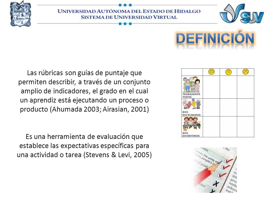 Las rúbricas son guías de puntaje que permiten describir, a través de un conjunto amplio de indicadores, el grado en el cual un aprendiz está ejecutan