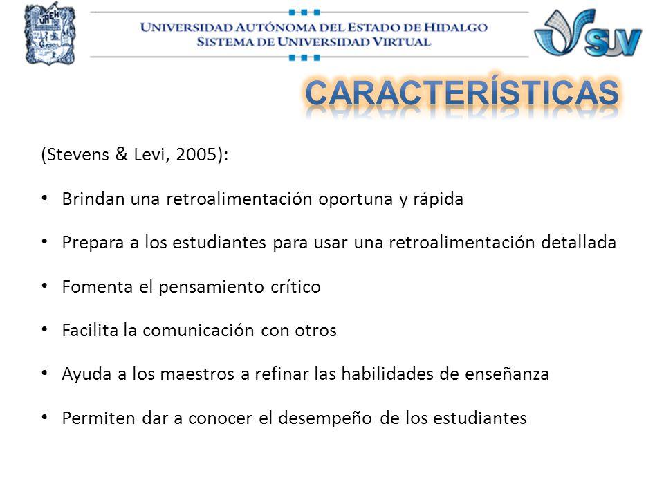 (Stevens & Levi, 2005): Brindan una retroalimentación oportuna y rápida Prepara a los estudiantes para usar una retroalimentación detallada Fomenta el