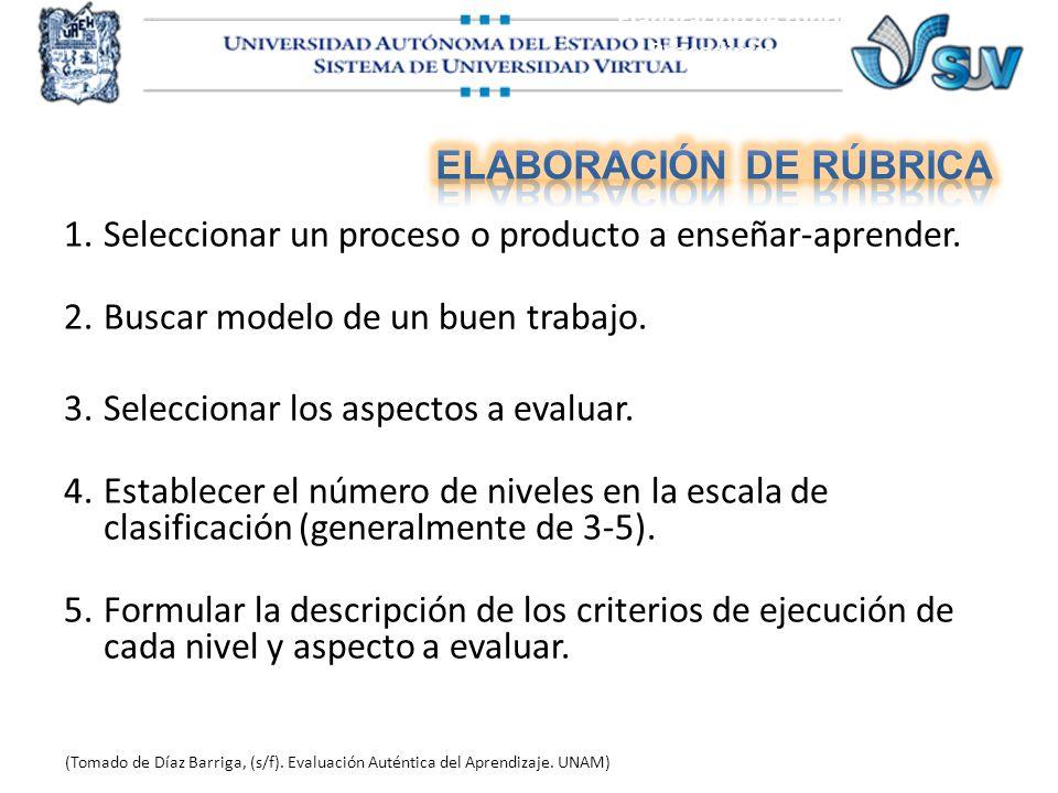 Elaboración de rúbrica Procedimiento A (Tomado de Díaz Barriga, (s/f). Evaluación Auténtica del Aprendizaje. UNAM) 1.Seleccionar un proceso o producto