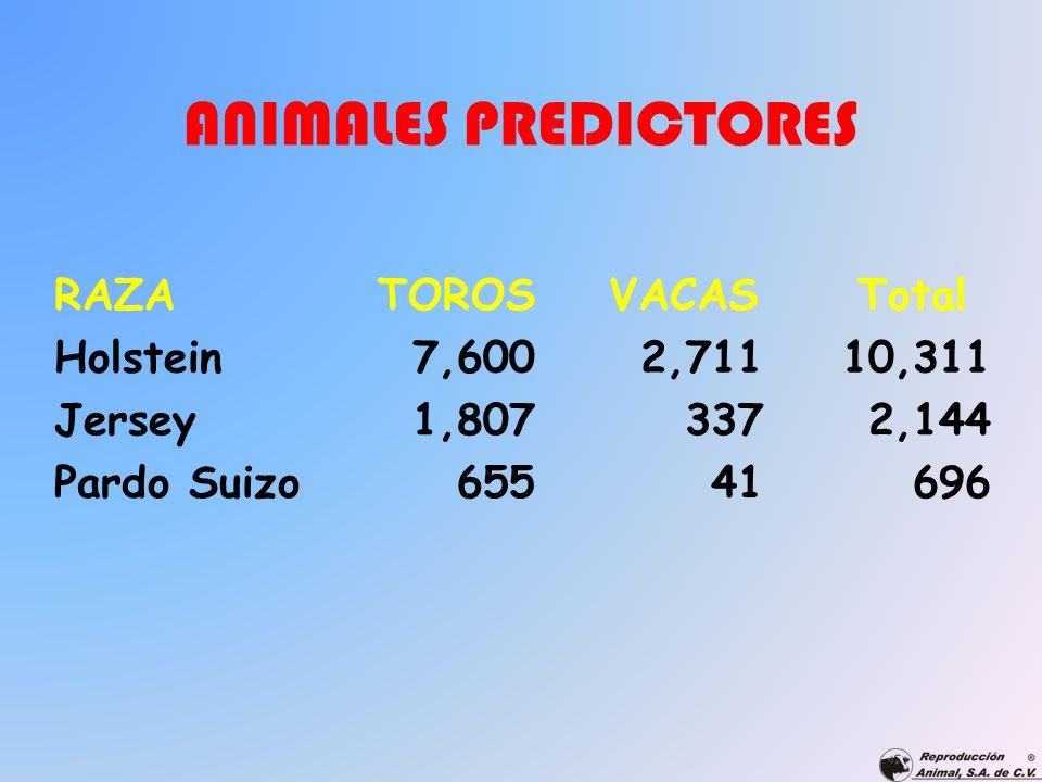 ANIMALES PREDICTORES RAZATOROSVACASTotal Holstein7,6002,71110,311 Jersey1,8073372,144 Pardo Suizo65541696