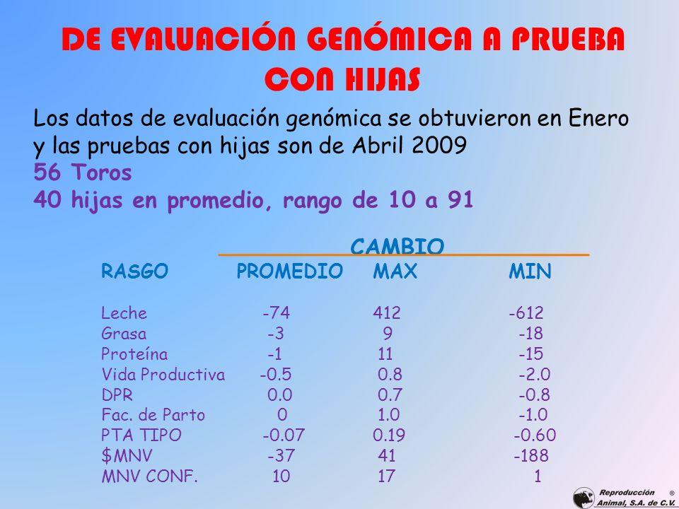 DE EVALUACIÓN GENÓMICA A PRUEBA CON HIJAS Los datos de evaluación genómica se obtuvieron en Enero y las pruebas con hijas son de Abril 2009 56 Toros 4