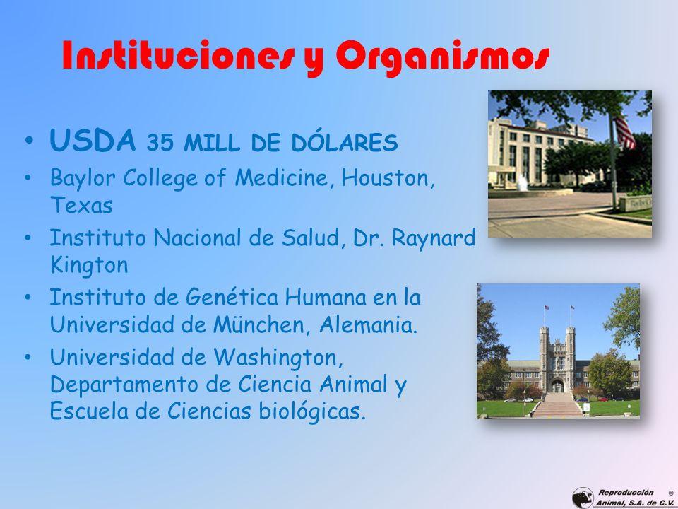 Instituciones y Organismos USDA 35 MILL DE DÓLARES Baylor College of Medicine, Houston, Texas Instituto Nacional de Salud, Dr. Raynard Kington Institu