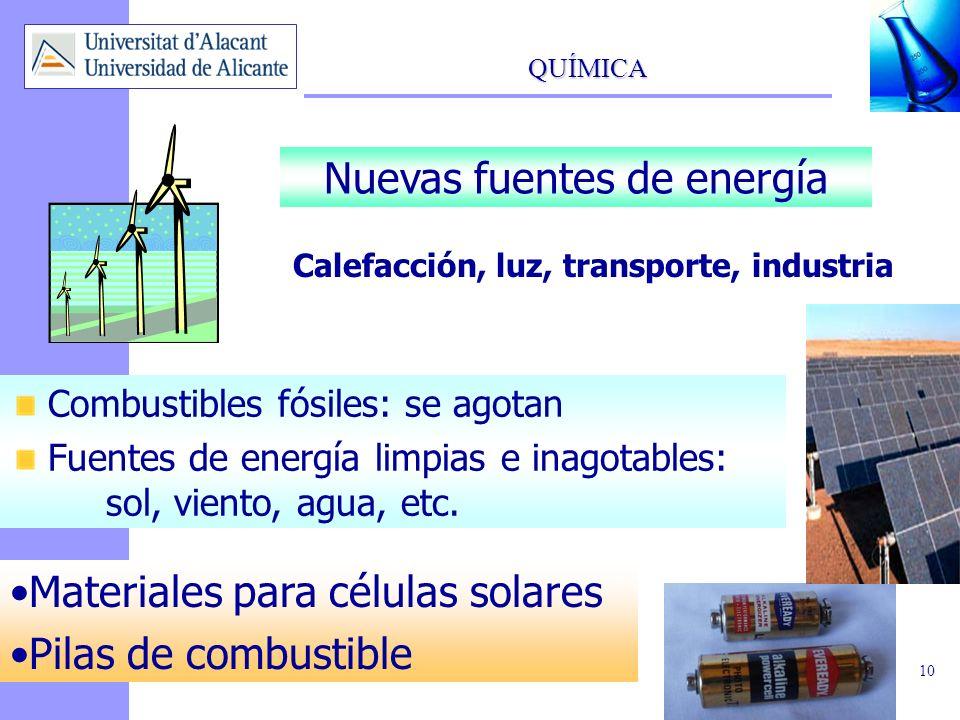 QUÍMICA 10 Nuevas fuentes de energía Calefacción, luz, transporte, industria Combustibles fósiles: se agotan Fuentes de energía limpias e inagotables: