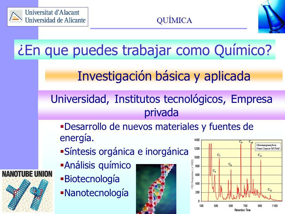 QUÍMICA 12 Desarrollo de nuevos materiales y fuentes de energía. Síntesis orgánica e inorgánica Análisis químico Biotecnología Nanotecnología ¿En que