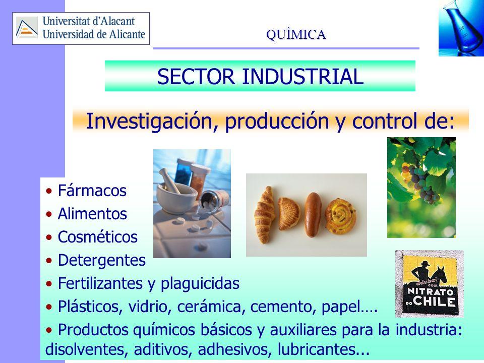 QUÍMICA 13 Investigación, producción y control de: Fármacos Alimentos Cosméticos Detergentes Fertilizantes y plaguicidas Plásticos, vidrio, cerámica,