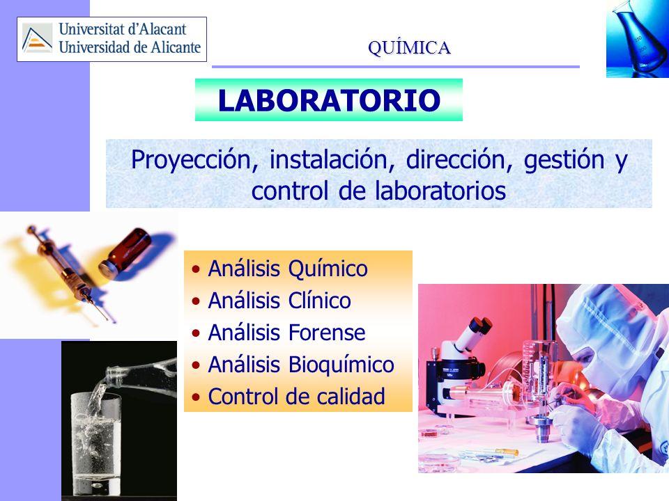 QUÍMICA 16 LABORATORIO Proyección, instalación, dirección, gestión y control de laboratorios Análisis Químico Análisis Clínico Análisis Forense Anális