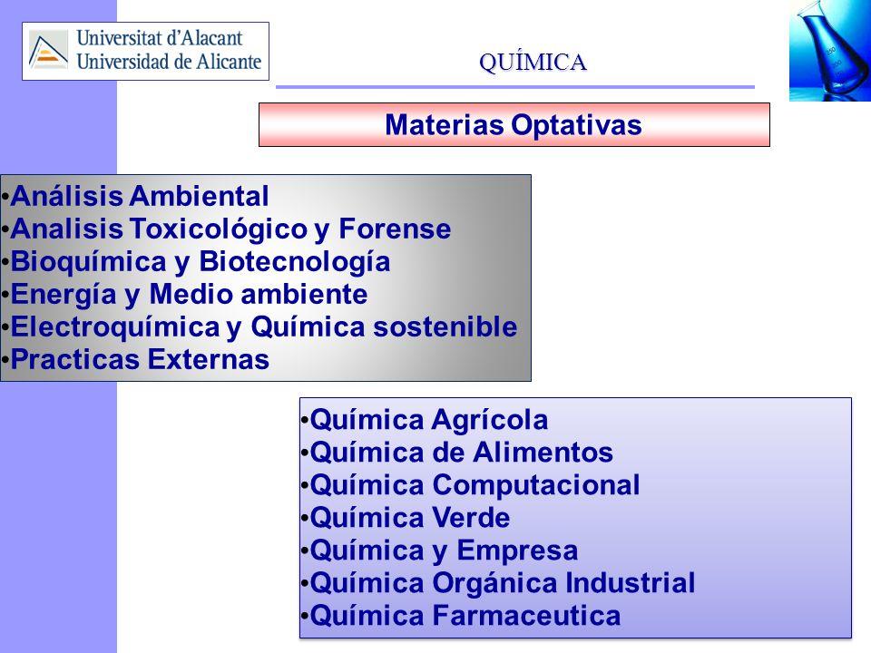QUÍMICA 7 Materias Optativas Análisis Ambiental Analisis Toxicológico y Forense Bioquímica y Biotecnología Energía y Medio ambiente Electroquímica y Q