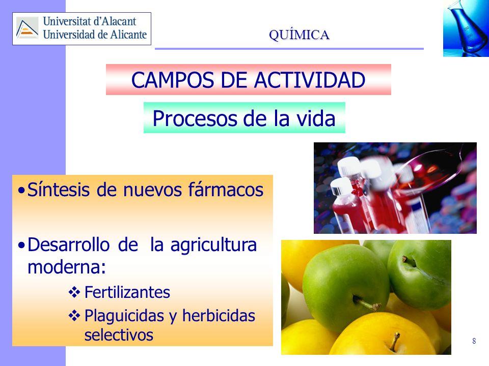 QUÍMICA 8 CAMPOS DE ACTIVIDAD Síntesis de nuevos fármacos Desarrollo de la agricultura moderna: Fertilizantes Plaguicidas y herbicidas selectivos Proc