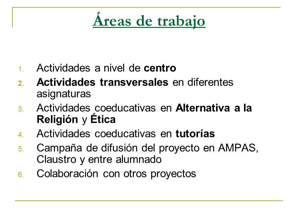 Áreas de trabajo 1. Actividades a nivel de centro 2. Actividades transversales en diferentes asignaturas 3. Actividades coeducativas en Alternativa a
