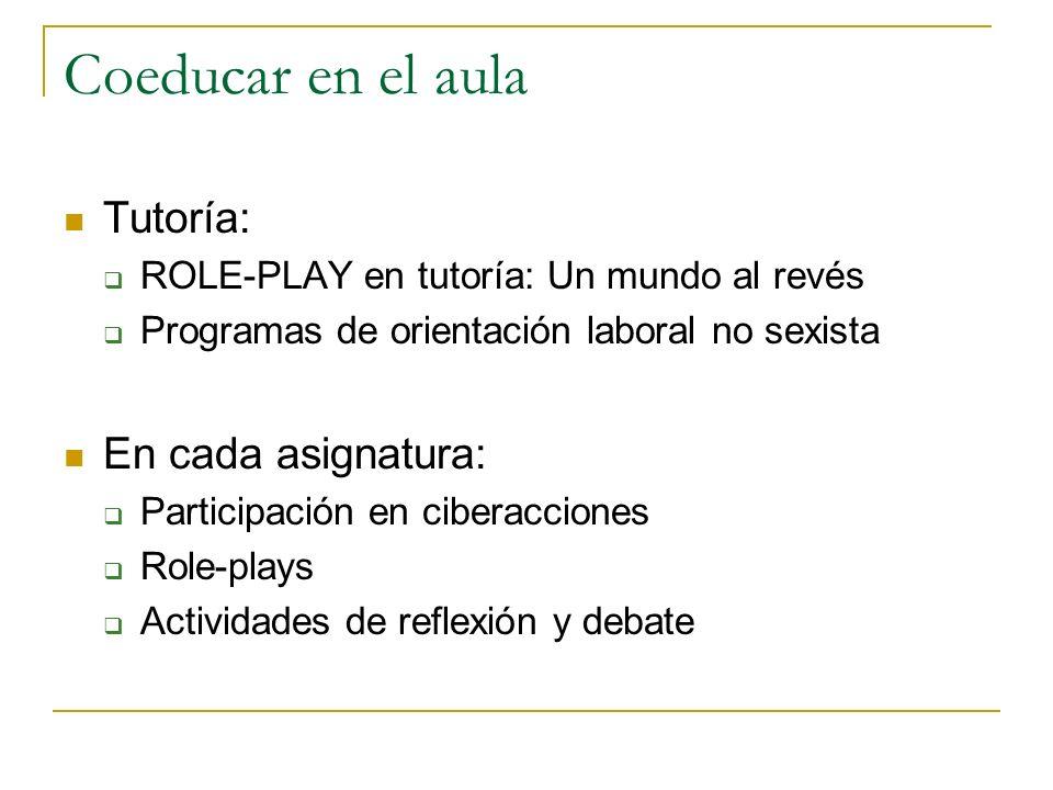 Coeducar en el aula Tutoría: ROLE-PLAY en tutoría: Un mundo al revés Programas de orientación laboral no sexista En cada asignatura: Participación en