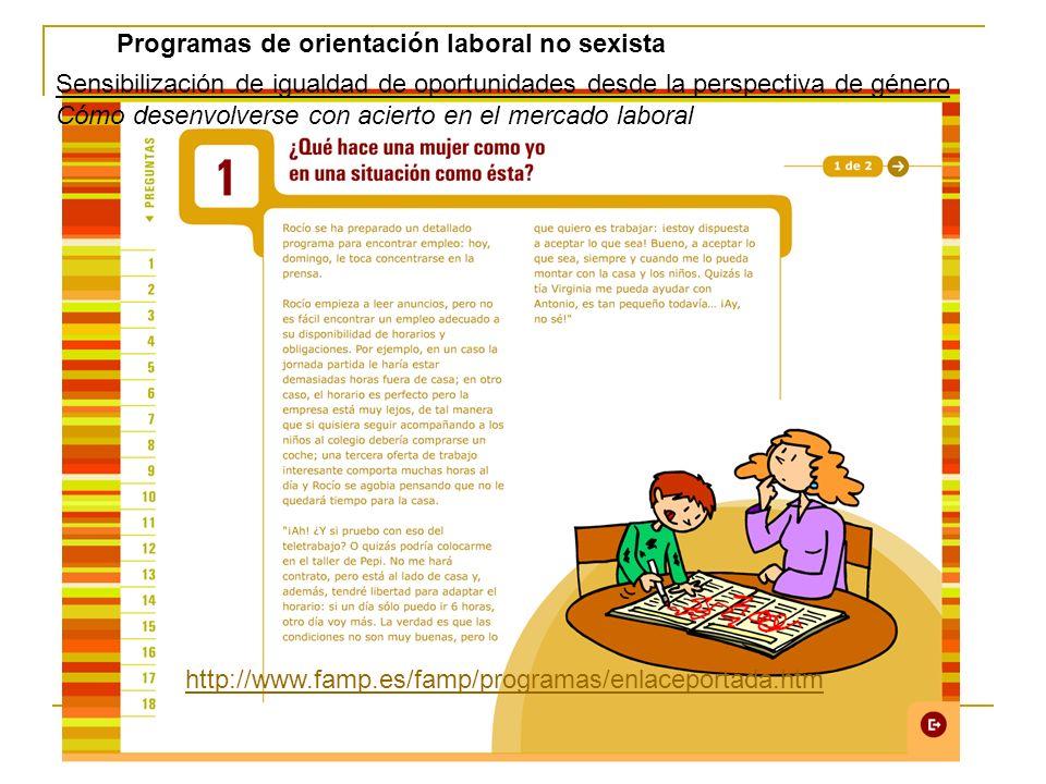 Sensibilización de igualdad de oportunidades desde la perspectiva de género Cómo desenvolverse con acierto en el mercado laboral http://www.famp.es/fa