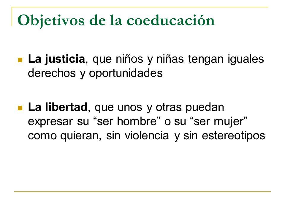 Objetivos de la coeducación La justicia, que niños y niñas tengan iguales derechos y oportunidades La libertad, que unos y otras puedan expresar su se