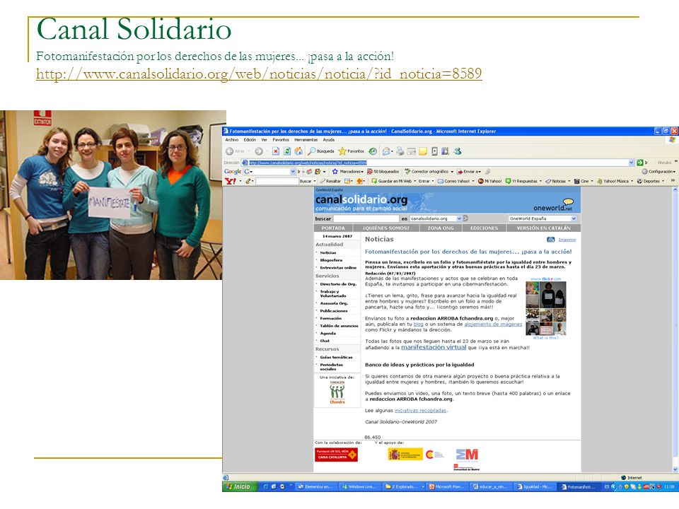 Canal Solidario Fotomanifestación por los derechos de las mujeres... ¡pasa a la acción! http://www.canalsolidario.org/web/noticias/noticia/?id_noticia