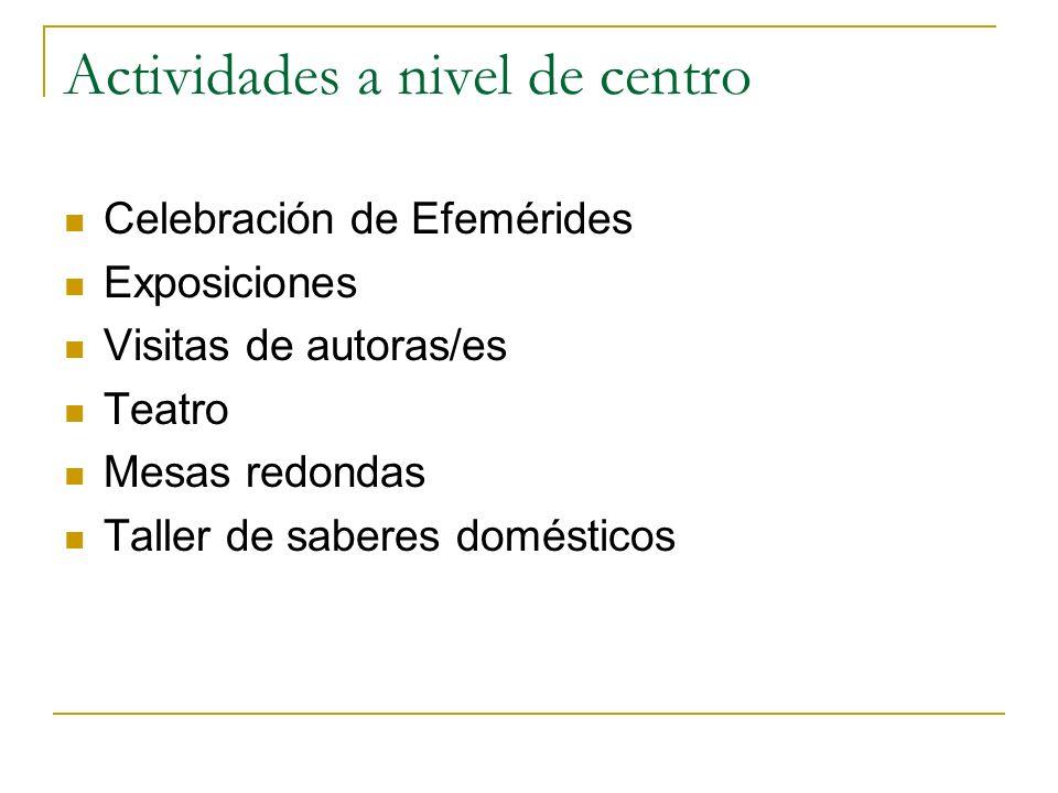 Actividades a nivel de centro Celebración de Efemérides Exposiciones Visitas de autoras/es Teatro Mesas redondas Taller de saberes domésticos